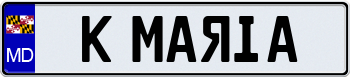 Maryland Euro Style License Plate 000000