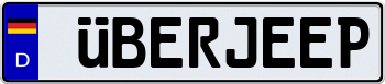 German Flag Style European License Plate 000000
