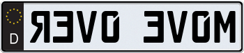 German License Plate with Black Decal 000000